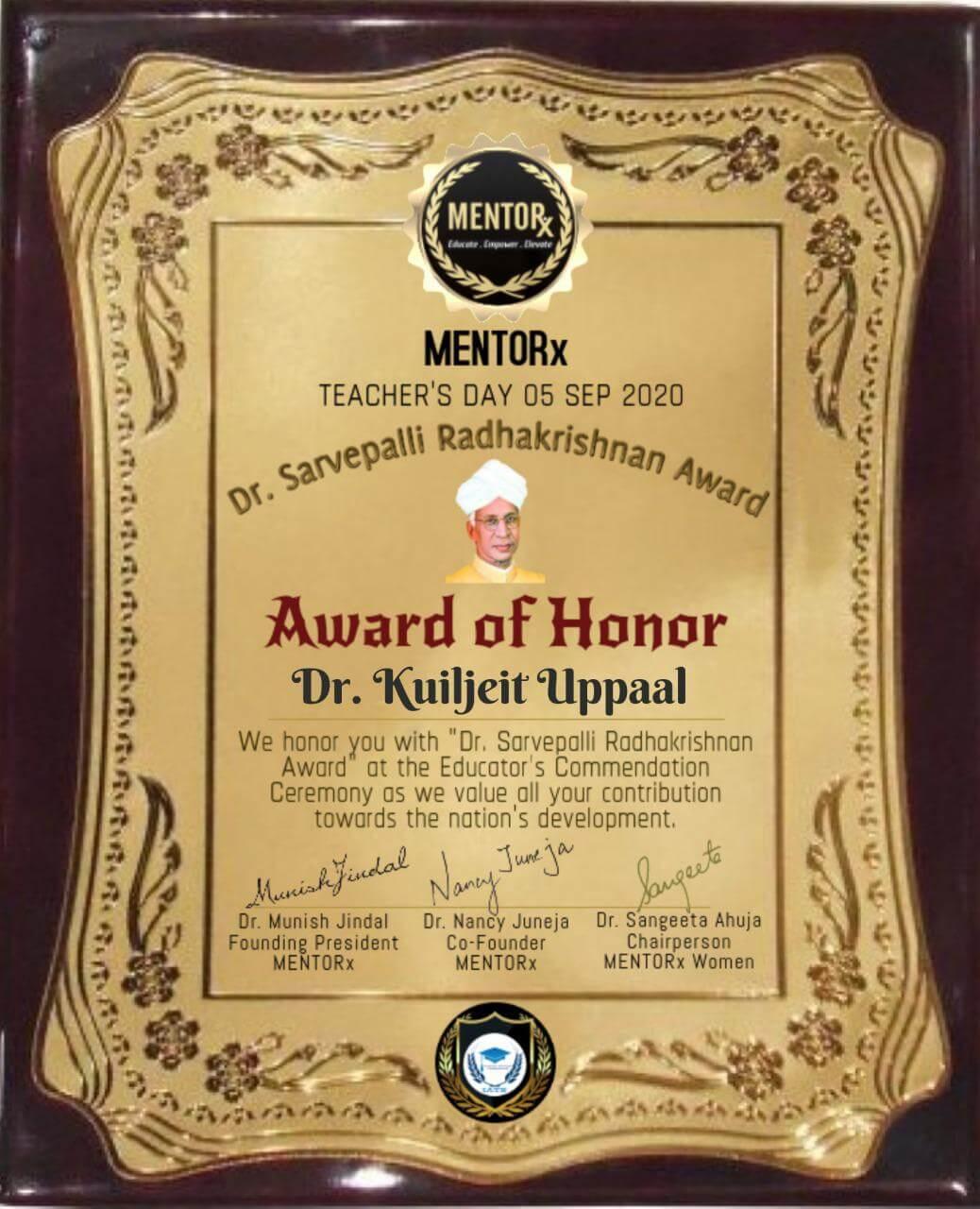 Dr. Sarvepalli Radhakrishanan Award
